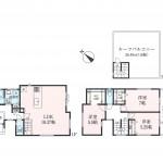 ゆとりの3LDK+カースペース1台+屋上庭園付き住宅です!(間取)